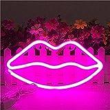 Nordstylee Nuevas señales de luz de neón para labios, luces de noche LED, luces de decoración para regalo de niños, pared, fiesta de cumpleaños, Navidad, decoración de boda, color rosa
