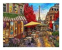 DIY都市風景室の壁アート未辞書の家の装飾60x75cm (Color : ZS009, Size (Inch) : 50x65cm DIY frame)