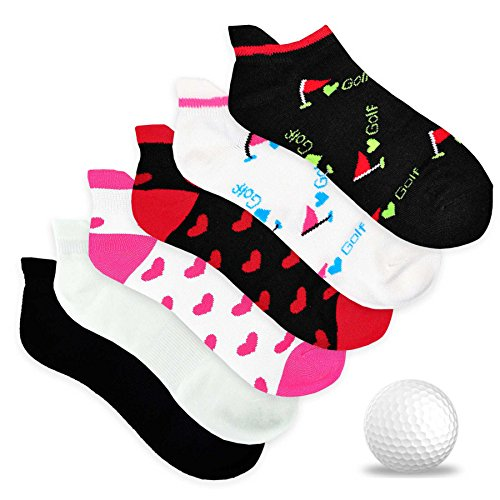 TeeHee Women's Golf Socks No Show Socks 6-Pairs Assorted (Love Golf)