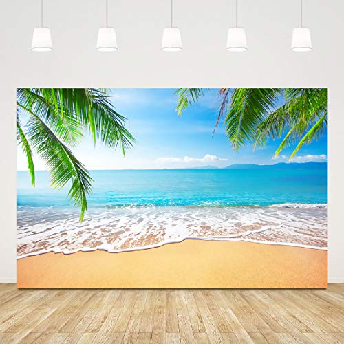 5x3ft Tropical Beach Photography Backdrop Palm Trees Background for Summer Birthday Party Decorations Blue Sky White Clouds Sea Beach Wedding Baby Shower Banner Holiday Events Photo Booth Props