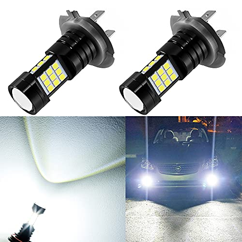 AUXLIGHT H7 LED Fog Light DRL Bulbs, 2400 Lumens Extremely BrightH7LL Bulbs Replacement for Cars, Trucks, 6000K Xenon White