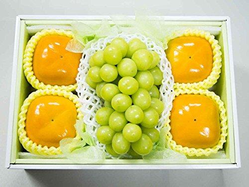 フルーツなかやま 秋グルメセット たねなし柿(刀根柿)4個 シャインマスカット1房 セット ギフト用
