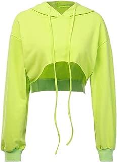 Mikilon Women's Long Sleeve Casual Solid Sweatshirt Crop Top Hoodies