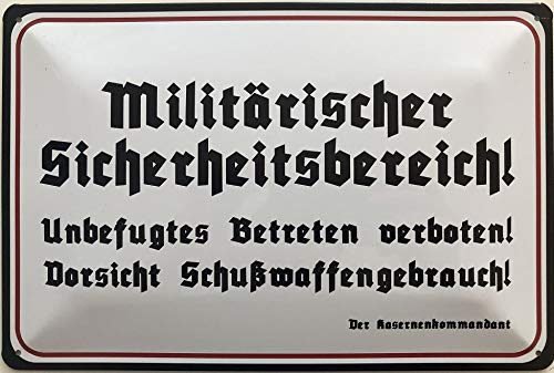 Deko7 Blechschild 30 x 20 cm Warnschild: Militärischer Sicherheitsbereich! Unbefugtes Betreten verboten ! Schußwaffengebrauch