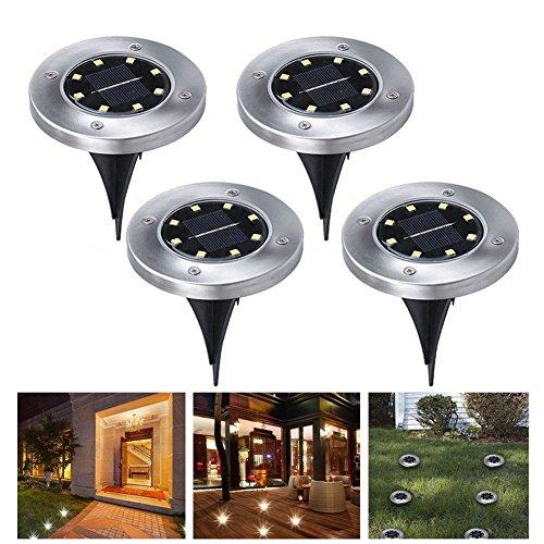 4 Pezzi Luce Sepolta Solare 8 LED lampade Solari da Esterni Wireless Impermeabile Luci Solari da Giardino per Esterno,Scala,Paesaggio,Strade (Larghezza 12 cm) (Bianco Freddo)