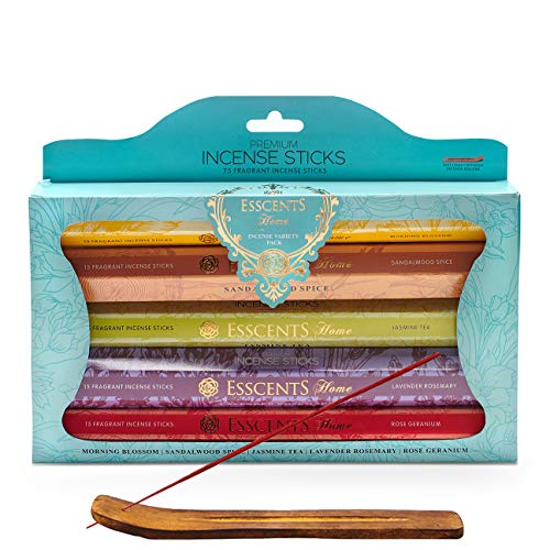 Utopia Scents Natural Incense Sticks Variety Pack 75 Scented Sticks Morning Blossom, Jasmine Tea, Sandalwood Spice, Lavender Rosemary and Incense Holder Aromatherapy Meditation and Altar Supplies