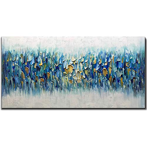 AMEI Art Paintings,24x48Inch 3D Hand Painted on Canvas Teal Blue Rhapsody Abstract Paintings Seascape Artwork Simple Modern Home Decor Textured Oil Painting Stretched and Framed Ready to Hang