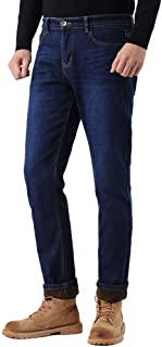 Plaid&Plain Men's Thermal Fleece Lined Winter Slim Fit Straight-Leg Jeans
