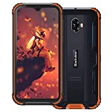 Movil Resistente, Blackview BV5900 Smartphone 4G con 5.7' HD+ IPS (3GB+32GB, 13MP/0.3MP+5MP, Batería 5580mAh, Android 9.0, MT6761, Dual Sim) Movil Antigolpes, IP69K/NFC/Face ID/GPS/Brújula-Naranja