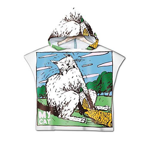 ACC Kinder Kapuzenbadetuch Bademäntel, Baumwolle Schnelltrocknende Kapuzenhandtuch Yukata Decke, Geeignet für Jungen und Mädchen,2