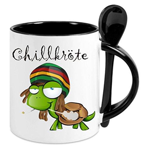 Creativ Deluxe Kaffeetasse m. Löffel - Chillkröte - Kaffeetasse mit Motiv, Bedruckte Tasse mit Sprüchen o. Bildern - auch indiv. Gestaltung nach Kundenwunsch