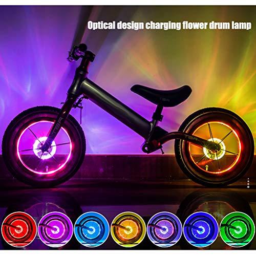 Peahop Kinder Balance Auto Nabe Licht USB Wiederaufladbare Fahrradleuchten Nachtfahrwarnlicht Fahrrad Rad Licht