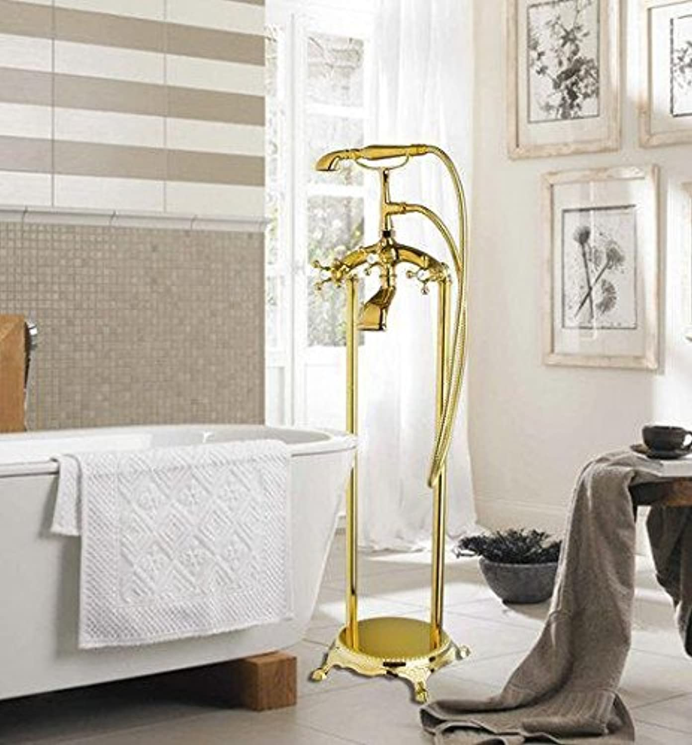 Shivers Bathtub Torneira Bathroom Double Handles Golden 51004 Floor Mounted Shower Set Vessel Vanity Basin Sink Faucet,Mixer Tap,Gelb