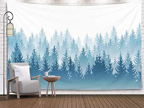 N\A Tapisserie de la forêt brumeuse, tapisseries imprimées pour Paysage forestier avec des Silhouettes Bleues détaillées d'arbres conifères modèle Salon Chambre pour la Maison à l'intérieur