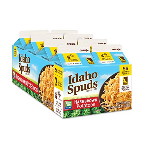 Idaho Spuds Premium Hasbrown Potatoes, 4.2oz (8 Pack), Made from 100% Idaho Potatoes, No Artificial Colors or Flavors; Non-GMO Certified, Gluten Free & Kosher