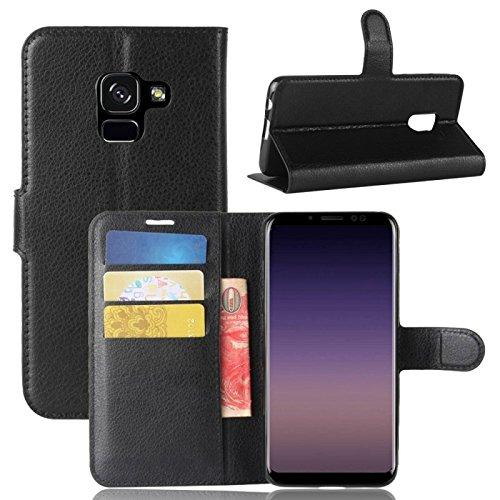 COPHONE® Custodia per Samsung Galaxy A8 2018 , Custodia in Pelle compatibili Galaxy A8 2018 nero. Cover a libro per Galaxy A8 2018 A530 magnetica portafoglio