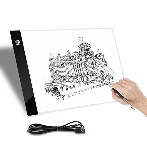 A4 caja de luz brillo ajustable almohadillas de visualización delgada copia tabla de trazado de dibujo plantilla artista