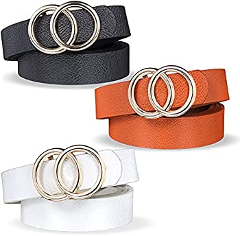 3-Pack TOBAAT Women's Double Ring Fashion Faux Leather Belts