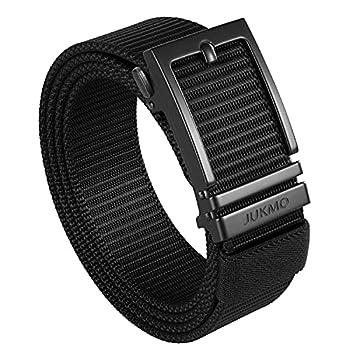 JUKMO Ratchet Belt for Men Nylon Web Tactical Gun Belt with Automatic Slide Buckle  Black Medium