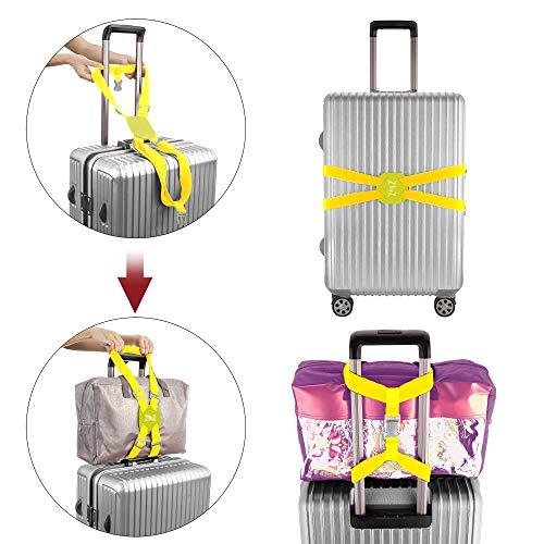 ZINZ旅行便利グッズバッグとめるベルト便利グッズ多用調整可能軽量荷物用弾力固定ベルトずり落ち防止イエロー