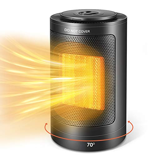 Electric Space Heater, 1500W PTC Portable Mini Space Heater, Oscillating Quiet Personal Heater with Thermostat, Over-Heat & Tilt Protection, Fast Heating Fan for Floor, Office, Home (Heater 21H)