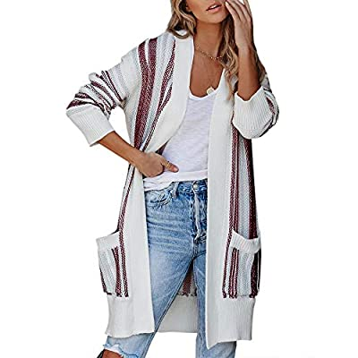 Foshow Womens Striped Open Front Cardigans Over...