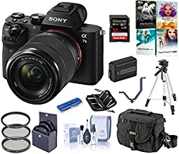 Sony Alpha a7II Full-Frame Mirrorless Digital Camera with 28-70mm Lens Bundle with Camera Bag, Battery, Filter Kit, Tripod, PC Software Kit, 32GB SD Card, SD Case, 3 Shoe V-Bracket, Cleaning Kit,