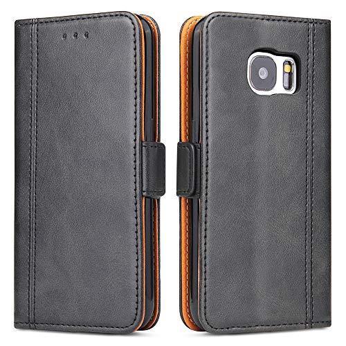 Samsung Galaxy S7 Hülle, Bozon Leder Tasche Handyhülle Flip Wallet Schutzhülle für Samsung Galaxy S7 mit Ständer und Kartenfächer/ Magnetic Closure (Dunkel-Grau)