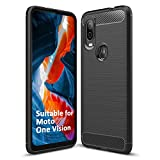 SCL Hülle Für Motorola One Vision Hülle Moto One Vision Handyhülle Exquisite Serie-Carbon Design Schutzhülle mit Anti-Kratzer & Anti-Stoß Absorbtion Technologie [Schwarz]