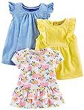 Simple Joys by Carter's - Maglietta a maniche corte da bambina, confezione da 3 ,Blue Stri...