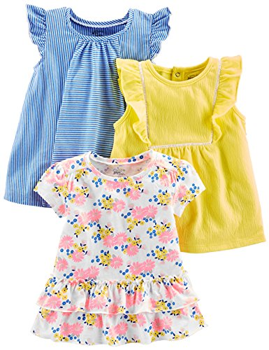 Simple Joys by Carter's Baby Girls - Pack de 3 Camisetas de Manga Corta, diseño Floral, Amarillo, 2T