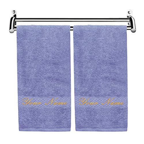 Monogram Towels Personalized Hand Towels Luxury Custom Embroidered Towels with Name for Bathroom, Personalized Gift, Set of 2, Extra Absorbent 100% Cotton, Monogrammed Hand Towels Set (Lavender)