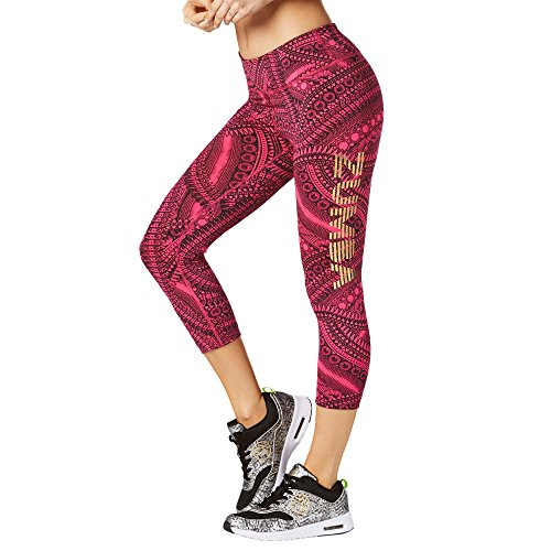 Zumba Dance Capri Leggings Estampados Fitness Entrenamiento Mallas de Deporte de Mujer, Dark Pink, S