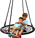 SUPER DEAL 40'' Spider Web Tree Swing Net Swing Platform Rope Swing 71' Detachable Nylon Rope Swivel, Max 600 Lbs, Extra Safe and Durable, Fun for Kids