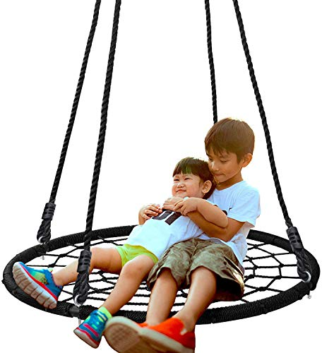 "SUPER DEAL 40'' Spider Web Tree Swing Net Swing Platform Rope Swing 71"" Detachable Nylon Rope Swivel, Max 600 Lbs, Extra Safe and Durable, Fun for Kids"