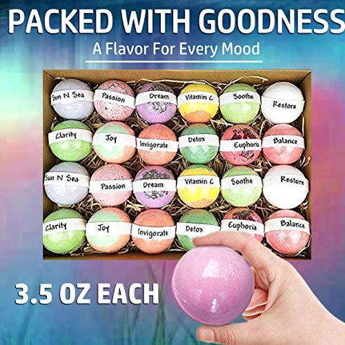 Bulk Bath Bombs Gift Set - 24 Nurture Me Organic Bath Bomb Kit - Lush Bath Bombs Bath Gift Set -...
