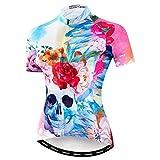 Weimostar - Maillot de ciclismo para mujer, ideal para modalidad de montaña y carretera (transpirable, manga corta), Mujer, Calavera rosa., M