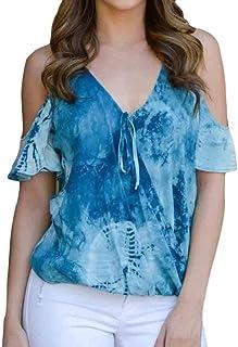 MK988 Womens Plus Size Short Sleeve V-Neck Tie Dyed Off Shoulder Top Blouse T-Shirt