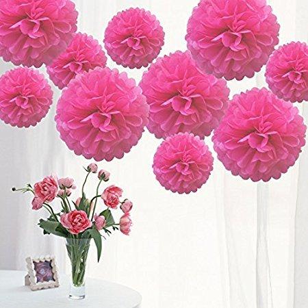 Lot de 10 pompons en papier de soie pour décoration de fête d'Halloween, fête du Nouvel An, mariage, autres décorations de fête au plafond - Rose 20,3 cm