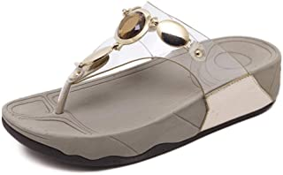 Women Sandals Toe Post Flip Flops, Europe and America Simple high Quality Artificial PU Comfortable Thick Bottom Ms flip Flop