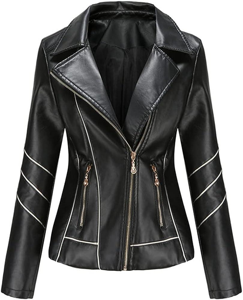 Leather Jacket Women's Spring Autumn Slim Moto