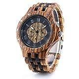 Bewell メンズ 木製 腕時計 ウッドウォッチ 夜光 日付、曜日 ローマ数字目盛 クォッツムーブメント 男性用 アナログ表示 腕時計