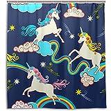 chillChur-DD Shower Curtain Set Tende da doccia Arcobaleno Stella Carino Unicorno Tenda da bagno impermeabile Bagno Decorazioni per la casa, 168X183 Cm (66X72 In) con 12 ganci