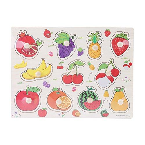 FTVOGUE Anzahl Tier Obst Holz Cognitive Knob Puzzle Kinder Pädagogisches Lernspielzeug mit Handgriff(Fruit)