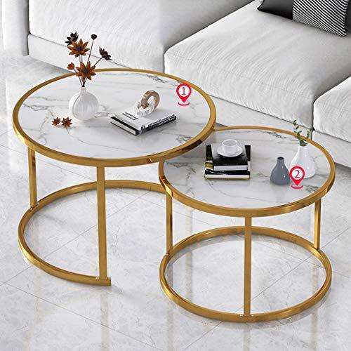 ZRN Modern 2 Nest Of Table Sets Golden Metal Frame Living Room Furniture Sofa Coffee Table Side Table End Table Vintage Nest of Tables
