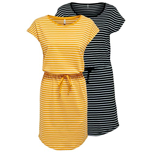 ONLY Damen Sommer Mini Kleid onlMAY S/S Dress 2er Pack XS S M L XL XXL Gestreift Schwarz 100% Baumwolle, Größe:L, Farbe:Black Thin Stripe &...