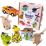 REVVIT BoxArt Cardboard Crafts for Kids to Build & Color or Paint - Arts and Crafts DIY Imagination Play - Includes Dinosaur, Helicopter, Giraffe, Building, Windmill and Race Car.