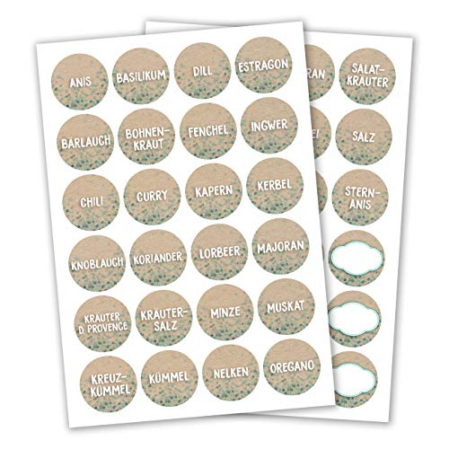 24 ronde zelfklevende kruidenetiketten/kruidenstickers, ideaal voor kruidenrekken, blikjes en glazen, elegante, moderne en tijdloze stickers, diameter 4 cm bloemen