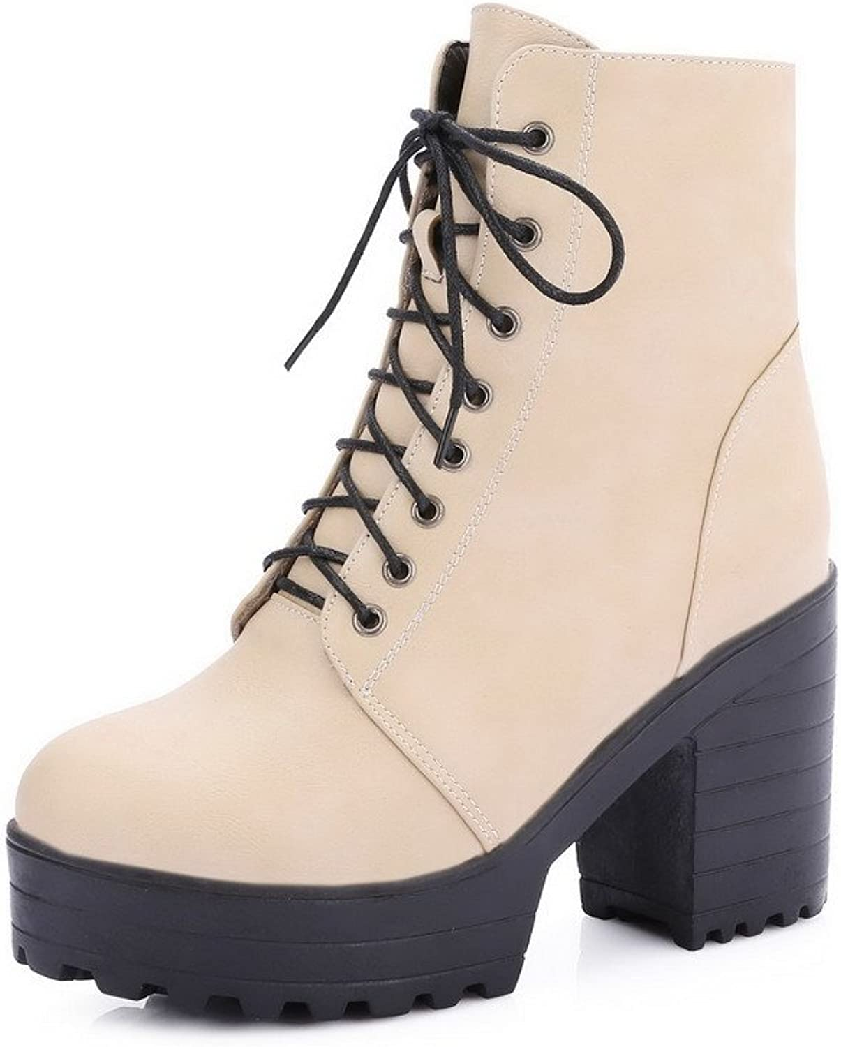 WeenFashion Women's High-Heels Solid Closed Round Toe Soft Material Lace-up Boots