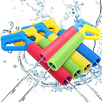 6-Pack Foam Water Blaster Water Squirt Guns Shooting Up to 30 Feet Outdoor Swimming Pool Summer Fun Party Games Water Toys Water Gun for Kids Teens Adults